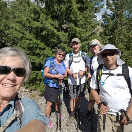 The 2nd gang - Janice, Marlys, Michael, Bonnie and Mo posing along the trail