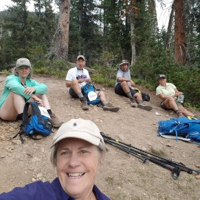 The gang taking a lunch break at the top of Three Island Trail