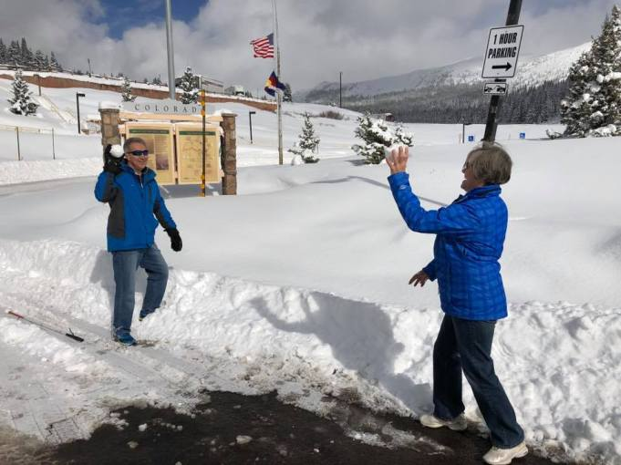 Michael and Janice having a snowball fight