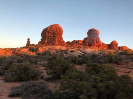 Sunset on rock formations
