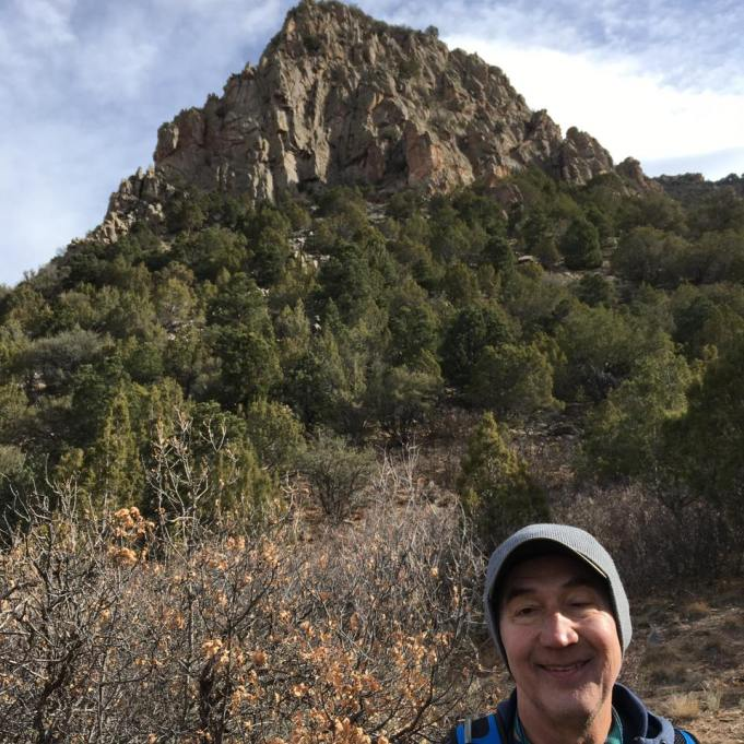 Michael with Wildcat Mountain peak in background