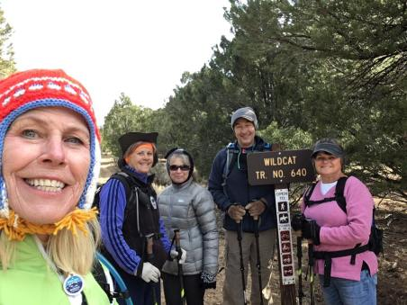 Linda, Janice, Peggy, Michael and Marlys by the Wildcat Trailhead sign