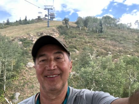 Michael selfie up the hill under the Mt. Werner gondola line