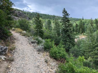 Heading up the rocky Uranium Mine Trail
