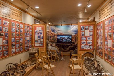 Small theater area for watch history of Moab Museum of Film and Western Heritage