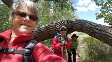 Janice, Michael and Linda by a fallen tree at the beginning of the trail