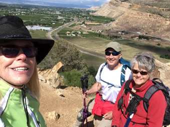 Linda, Michael and Janice at an overlook of the valley below