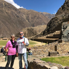 Janice and Michael standing in front of ruins at Ollantaytambo