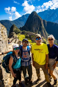 Bernie, Zach, Michael and Janice with Machu Picchu mountain in background